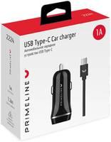 Автомобильное зарядное устройство Prime Line 1A кабель USB Type-C черное (2224)
