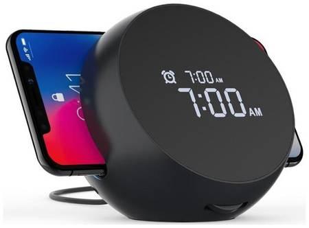 GSMIN Беспроводное зарядное устройство Kini Qi Wireless Wake с функцией будильника + Qi (10W, 5-9V, 2A)