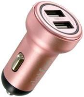 Автомобильная зарядка Dotfes B05 + Lightning, розовое