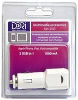 Dori USBавтомобильное зарядное устройство 2 USB in 1 (1000mA,5v) 2425