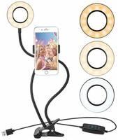Lemon Tree Селфи кольцо (кольцевая лампа) 8,5 см с держателем для смартфона на гибком штативе.