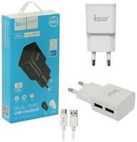 Быстрое сетевое зарядное устройство на 2 USB 5В/2.4А Isa SH12 + кабель Micro USB