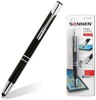 Ручка-стилус SONNEN для смартфонов/планшетов, корпус , серебристые детали, 1 мм, блистер, синяя, 141588