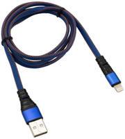 Аксессуар Rexant USB - Lightning 2.4A 1m Blue Nylon 18-7053