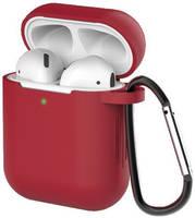 Чехол для наушников Eva для Apple AirPods 1/2 с карабином - Красное вино (CBAP40RV)