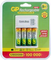 Зарядное устройство GP CPB 4 акк 2700mAh АА micro USB кабель GP GP270AAHC/CPB-2CR4