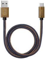 Дата-кабель Deppa Jeans USB - Type-C медь/джинса 1.2м синий