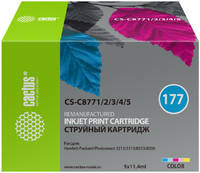Картридж струйный Cactus CS-C8771/2/3/4/5 №177 /пурпурный//пурпурный/пурпурный набор карт. для HP PS 2113/3313/8253/8200