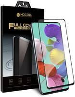 Защитное стекло MOCOLL полноразмерное 2.5D для Samsung A31 Черное (Серия Storm)