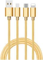 Дата-кабель АТОМ USB A 2.0-USB Type-C,USB B micro,Lightning, 1m, золотой