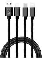 Дата-кабель АТОМ USB A 2.0-USB Type-C,USB B micro,Lightning, 1m, черный