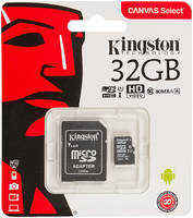 Карта памяти Kingston Canvas Select microSDHC UHS-I 32GB Class 10 с адаптером