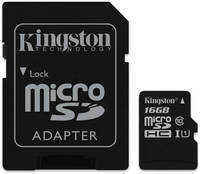 Карта памяти Kingston Canvas Select microSD UHS-I Class 10 16GB с адаптером