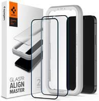 Защитное стекло с установочной рамкой Spigen GLAS.tR AlignMaster для iPhone 12 и 12 Pro (2.5D, 9H; олеофобное покрытие; комплект — 2 шт.)