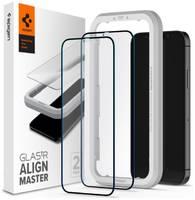 Защитное стекло с установочной рамкой Spigen GLAS.tR AlignMaster для iPhone 12 Pro Max (2.5D, 9H; олеофобное покрытие; комплект — 2 шт.)