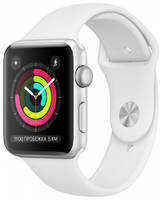 Apple Watch Series 3 GPS, 42mm, корпус из серебристого алюминия, спортивный ремешок белого цвета