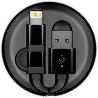 Кабель для сотового телефона InterStep USB/Lightning+MicroUSB,рулетка,плоский 0,9m,черн