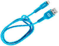 Кабель для iPod, iPhone, iPad Qumo MFI USB-Apple 8 pin голубой