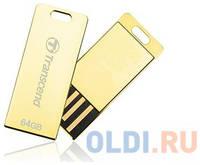 Флеш-накопитель Transcend 64GB JETFLASH T3G USB 2.0 накопитель, металлический корпус, золотой, Ультракомпактный