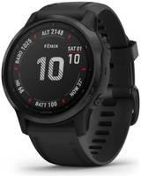 Черные часы Garmin Fenix 6S Sapphire DLC с черным ремешком