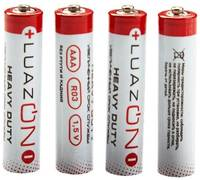 Батарейка солевая LuazON Heavy Duty, AAA, R03, спайка, 4 шт