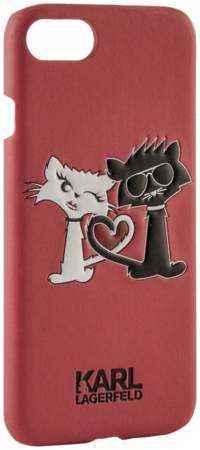 """Чехол-крышка Karl Lagerfeld """"Коты Love"""" для Apple iPhone 7/8, кожзам / пластик, (Soft Case)"""