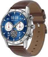 Часы Smart Watch GARSline KK70 серебристые (черная кожа)