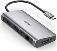 Адаптер Ugreen 80133 USB Type-C хаб 10 в 1 VGA/HDMI/RJ45/SD/USB 3.0/3,5мм 80133 Type-C 10 в 1