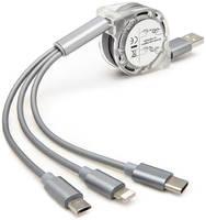 Кабель выдвижной USB - Type-C - MicroUSB - Lightning 1м GSMIN (Серебристый) Кабель выдвижной USB - Type-C - MicroUSB - Lightning 1м GSMIN (Розовый)