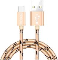 Gsmin Кабель MicroUSB - USB (Yoobao Ribbon) в оплетке 1.5м (Золотой)