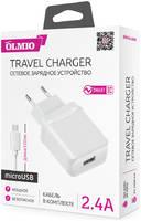 Сетевое зарядное устройство Olmio Smart IC USB, 2.4A +MicroUSB