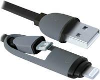 Кабель Defender USB10-03BP USB Am-microBM, насадка Lightning, комбо кабель, чёрный - 1 м
