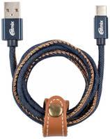 Кабель USB Type-C-USB RITMIX RCC-437 Blue Jeans,1м, 2А, оплетка из джинсовой ткани