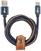 Кабель Micro USB-USB RITMIX RCC-417 Blue Jeans, 1м, 2А, оплетка из джинсовой ткани