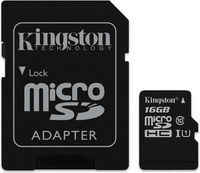 Карта памяти 16Gb - Kingston Micro Secure Digital HC Class 10 UHS-I SDC10G2/16GB с переходником под SD